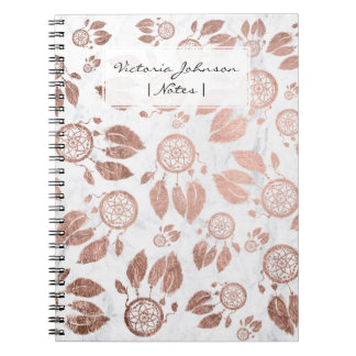 Modern faux rose gold dreamcatcher feathers marble notebooks