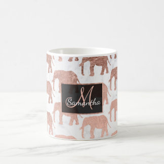 Modern faux rose gold elephants white marble coffee mug