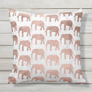 Modern faux rose gold elephants white marble outdoor cushion