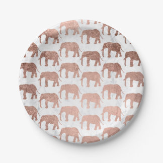 Modern faux rose gold elephants white marble paper plate
