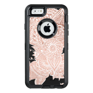 Modern faux rose gold floral mandala illustration OtterBox iPhone 6/6s case