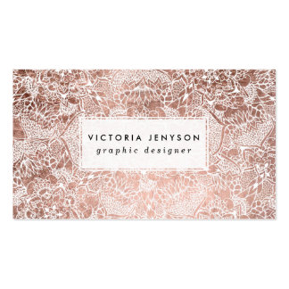 Modern faux rose gold floral mandala illustration pack of standard business cards
