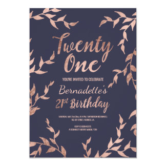 Modern faux rose gold floral navy 21st Birthday Card