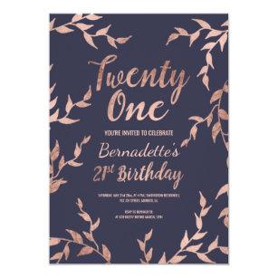 21st birthday invitations zazzle au modern faux rose gold floral navy 21st birthday invitation filmwisefo
