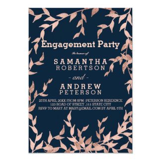 Modern faux rose gold floral navy engagement card