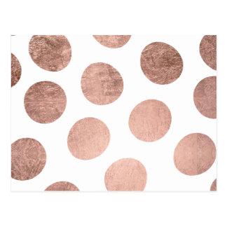 Modern faux rose gold foil hand drawn polka dots postcard