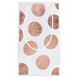 Modern faux rose gold foil hand drawn polka dots small gift bag