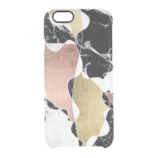 Modern faux rose gold foil marble color block line clear iPhone 6/6S case