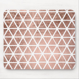 Modern faux rose gold foil triangles pattern mouse pad