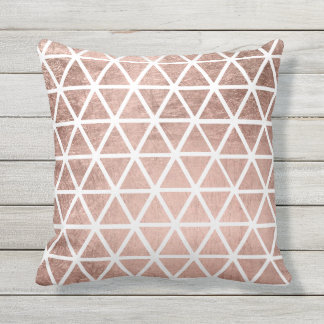 Modern faux rose gold foil triangles pattern outdoor cushion