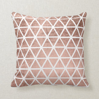 Modern faux rose gold foil triangles pattern throw pillow