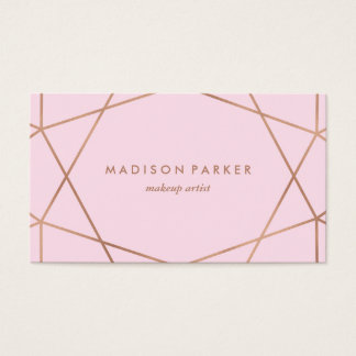 Modern Faux Rose Gold Geometric on Blush Pink Business Card