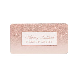 Modern faux rose gold glitter blush ombre makeup label