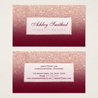 Modern faux rose gold glitter burgundy makeup business card