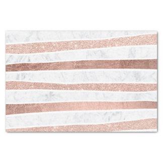 Modern faux rose gold glitter foil marble stripes tissue paper