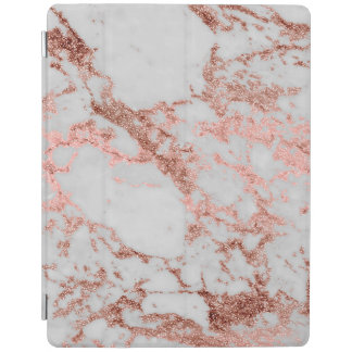Modern faux rose gold glitter marble texture image iPad cover