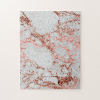 Modern faux rose gold glitter marble texture image jigsaw puzzle