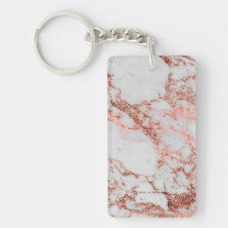 Modern faux rose gold glitter marble texture image key ring