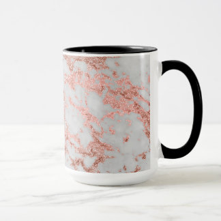 Modern faux rose gold glitter marble texture image mug