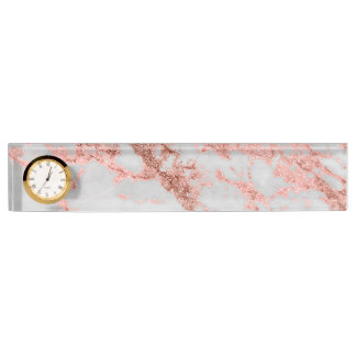 Modern faux rose gold glitter marble texture image name plates