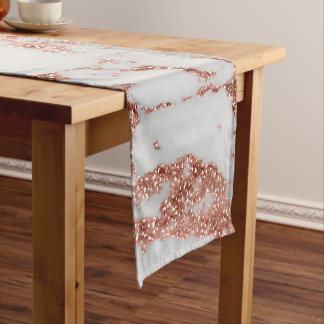 Modern faux rose gold glitter marble texture image short table runner