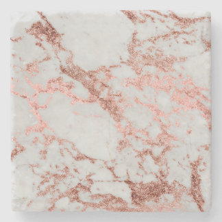 Modern faux rose gold glitter marble texture image stone coaster