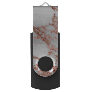 Modern faux rose gold glitter marble texture image swivel USB 3.0 flash drive