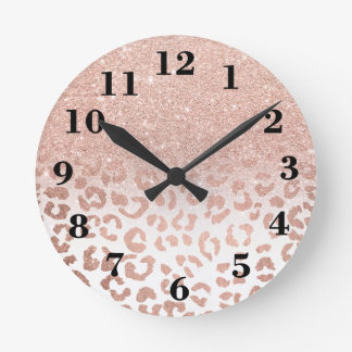 Modern faux rose gold glitter ombre leopard wall clocks