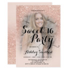 Modern faux rose gold glitter ombre photo Sweet 16 Card