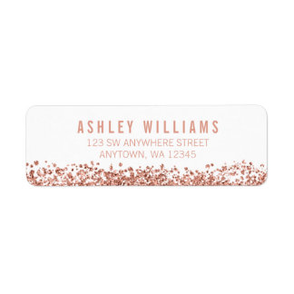 Modern Faux Rose Gold Glitter Return Address Label