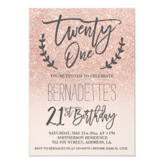 Modern faux rose gold glitter script 21st Birthday Card