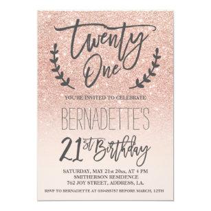 Elegant 21st birthday invitations zazzle au modern faux rose gold glitter script 21st birthday invitation filmwisefo