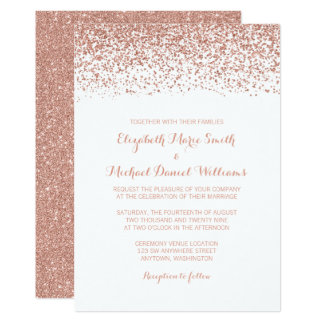 Modern Faux Rose Gold Glitter Wedding Invitations