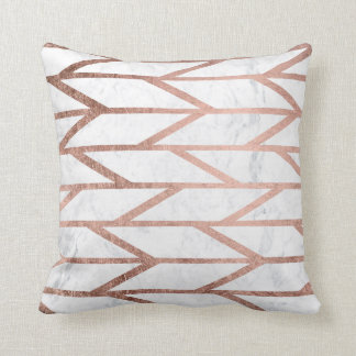 Modern faux rose gold herringbone chevron pattern cushion