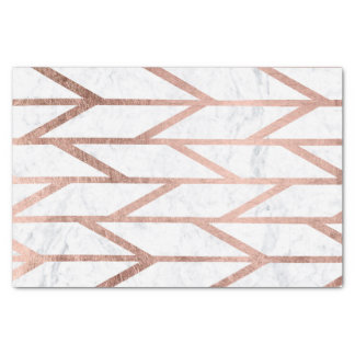 Modern faux rose gold herringbone chevron pattern tissue paper