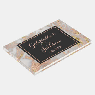 Modern Faux Rose Gold Marble Personalised Wedding Guest Book