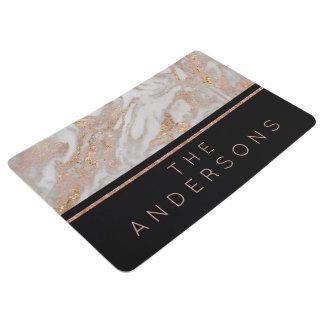 Modern Faux Rose Gold Marble Swirl Monogram Floor Mat