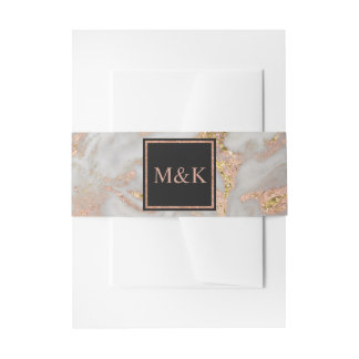 Modern Faux Rose Gold Marble Wedding Invitation Invitation Belly Band