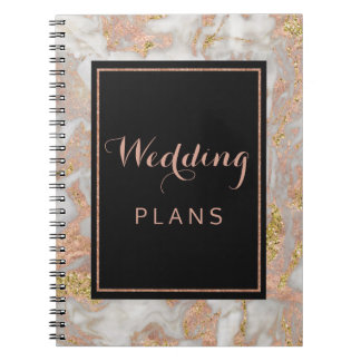 Modern Faux Rose Gold Marble Wedding Planner Spiral Note Books