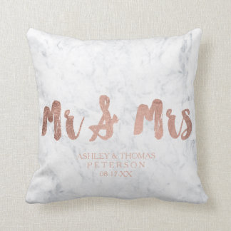 Modern faux rose gold Mr and Mrs marble wedding Cushion