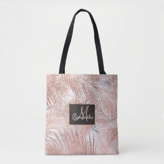 Modern faux rose gold palm tree leaf marble tote bag