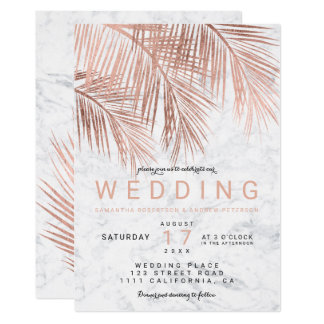 Modern faux rose gold palm tree marble wedding card