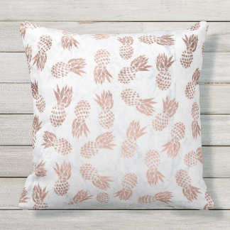 Modern faux rose gold pineapples white marble outdoor cushion