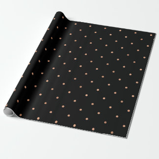 Modern Faux Rose Gold Polka Dots on Black