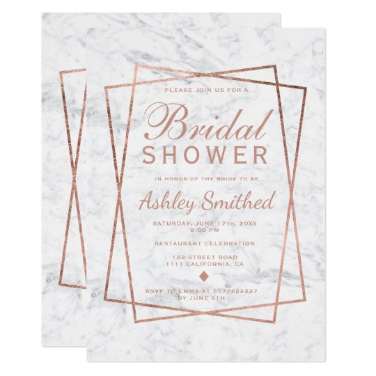 Modern faux rose gold script marble bridal shower card