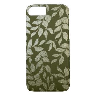 Modern Faux Silver Foil Leaves Pattern Green iPhone 7 Case