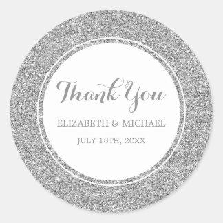 Modern Faux Silver Glitter Wedding Thank You Round Sticker