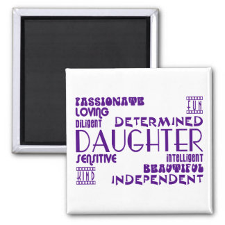 Modern Feminine Chic & Stylish Daughters Square Magnet