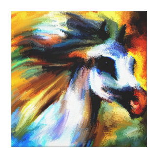 Modern Fine Art Hand Painted Bright Abstract Horse Canvas Print
