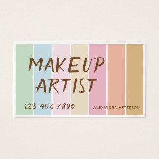 modern fine color pastel palette makeup artist business card